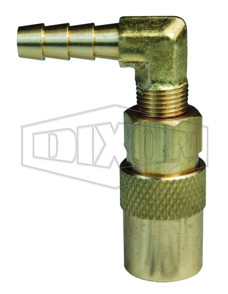 DQC CM-Series Industrial Mold Interchange Unvalved Coupler 90° Hose Barb
