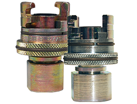 Dual-Lock P-Series Thor Interchange Female Thread Coupler with Knurled Flanged Sleeve